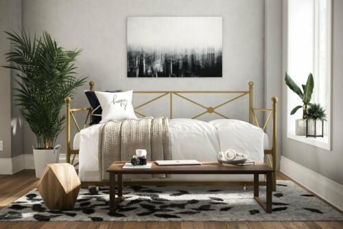 Gold Metal Daybed Frame Twin Size Bed With Trundle Kids