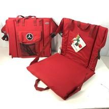 Mercedes Logo Stadium Seats 2 Red Bundle Picnic Time Camping Cushion Tri... - $72.34