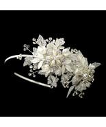 Diamond White Rhinestone Pearl Flower Side Accented Bridal Headband - €81,38 EUR