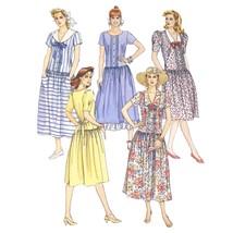 Vtg 80s McCalls 4201 Misses Short Sleeve Dress V-Neck Drop Waist Midi 16... - $6.95