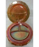5 Vintage Federal Normandie Marigold Carnival Glass Divided Dinner Plate... - $59.99