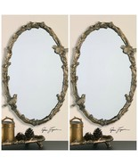 "TWO NEW 34"" AGED GOLD LEAF FINISH OVAL WALL MIRROR BIRD BRANCH VINE FOR... - $567.60"