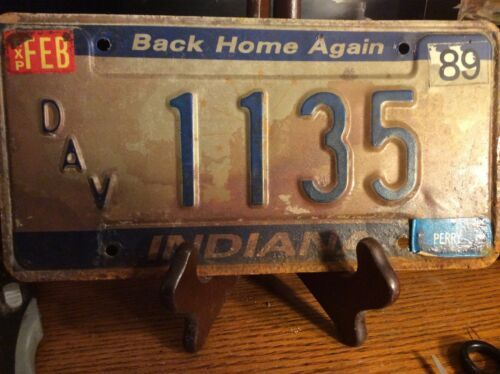 Primary image for Vintage Indiana License Plate -  - Single Plate  1989 DAV Plate!