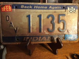 Vintage Indiana License Plate -  - Single Plate  1989 DAV Plate! - $12.86