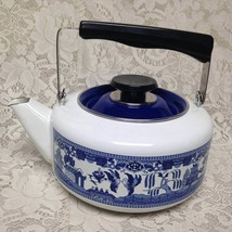 Vintage, Rare, Blue Willow Enamelware Teapot or Tea Kettle 10in W x 7.5in D - $118.70