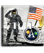 NASA SPACE ASTRONAUT APOLLO MOON LANDING 2 GANG SWITCH WALL PLATE ROOM A... - $11.69