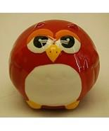Whimsical Folk Art Red Owl Ceramic Figurine Country Farm Animal Shelf Decor - $16.82
