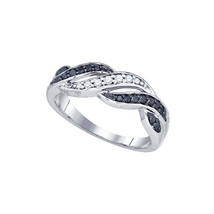 10k White Gold Womens Round Black Color Enhanced Diamond Infinity Weave ... - $323.00
