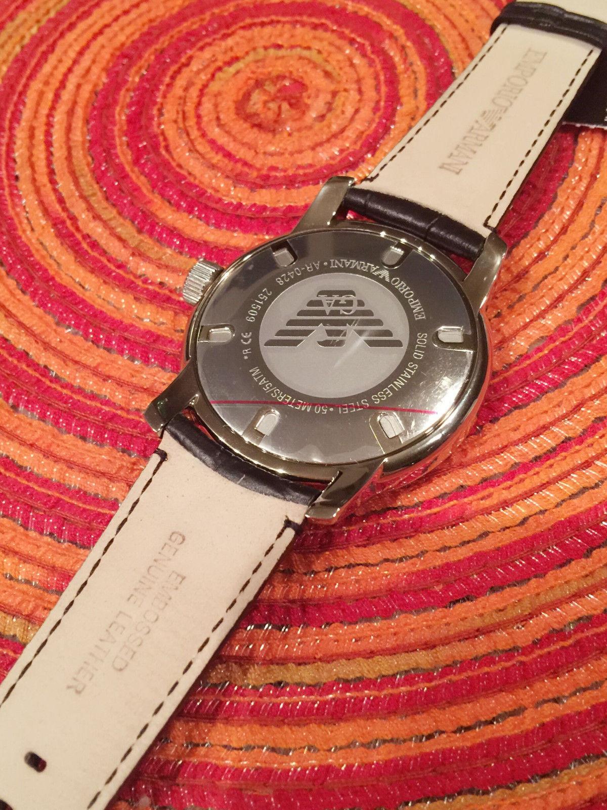 afcaf578a1b Emporio Armani Men s AR0428 Crocodile Leather Quartz Watch with Black Dial
