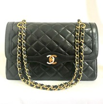 Vintage Chanel black 2.55 classic double flap bag with gold and silver C... - £1,960.19 GBP