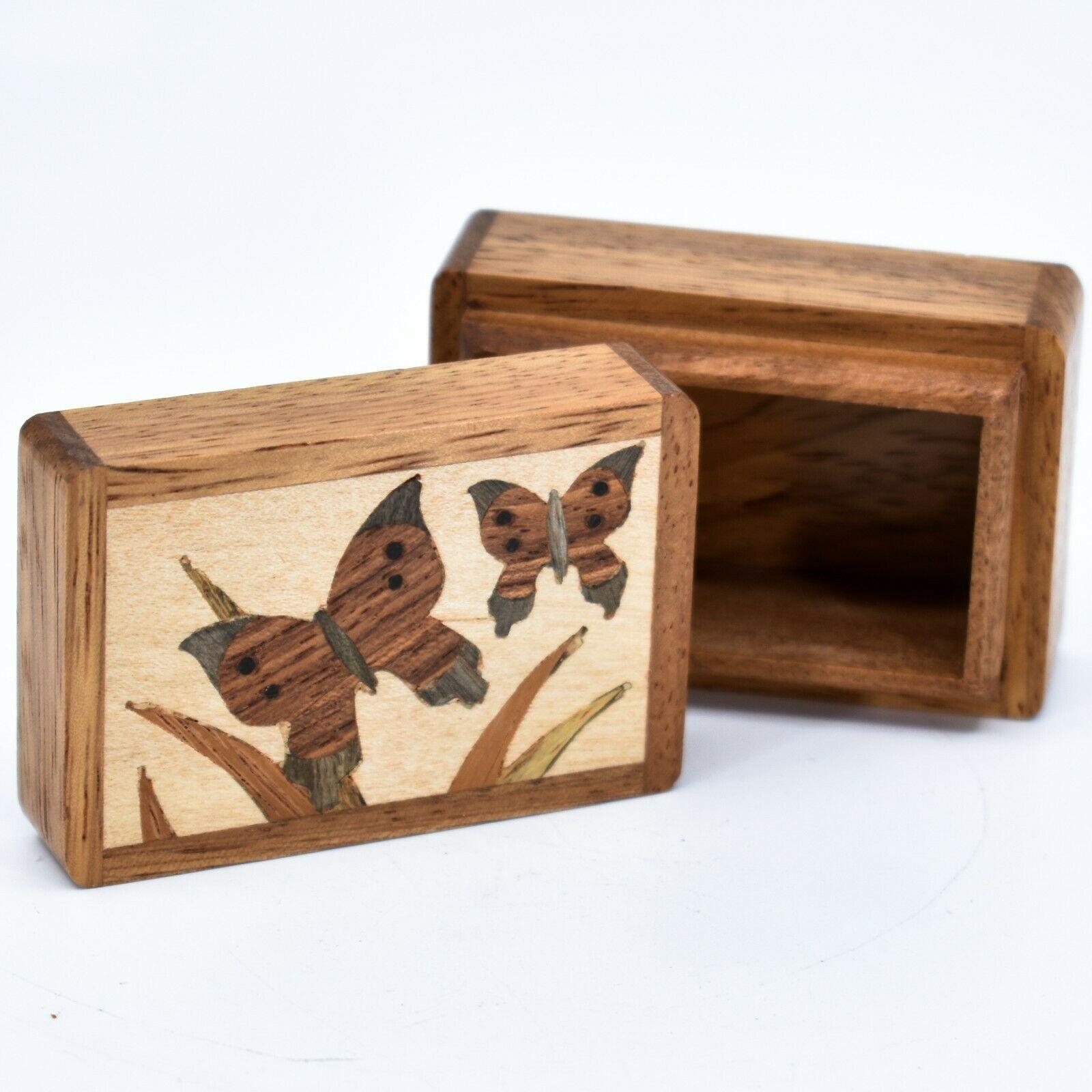 Northwoods Wooden Parquetry Country Garden Butterflies Mini Trinket Box