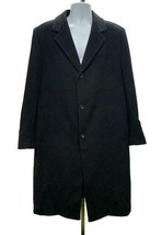 John W Nordstrom Topcoat Coat Wool Button Front Cashmere Size 42R Black - $119.59