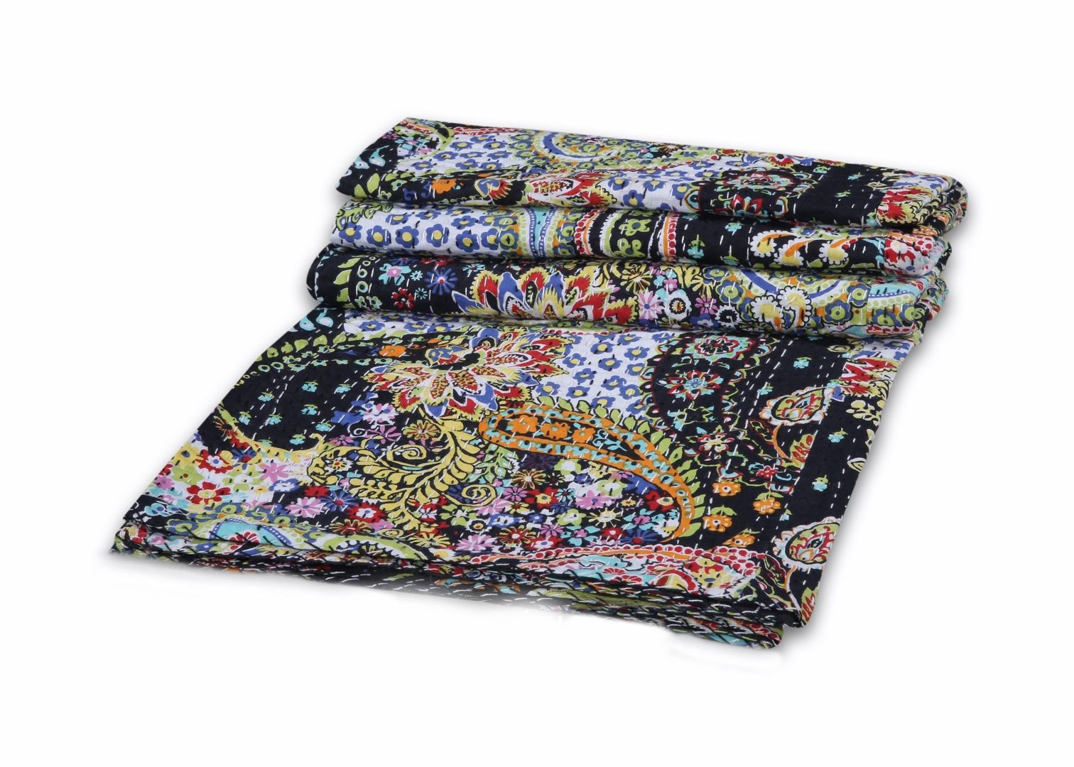 Paisley Print Kantha Quilt Twin Size Throw Bedspread Boho Hippie Gypsy Bohemian