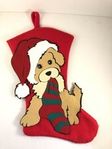 "Puppy Dog 3D Appliqué Felt Stocking Christmas Holiday 18"" - $19.79"