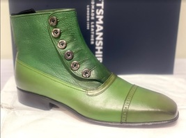 Handmade Men's Green Leather High Ankle Buttons Boot image 5