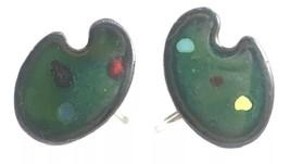 Vintage SCREW BACK EARRINGS Green Enamel ARTIST PAINT PALETTE - $23.96