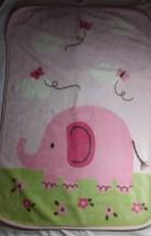 "Carter's Pink Green Elephant Baby Blanket Butterflies Crib 30"" x 46"" - $12.47"