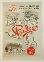 1949 San Diego Padres Scorecard v Sacramento Solons Lane Field Unscored - $64.35