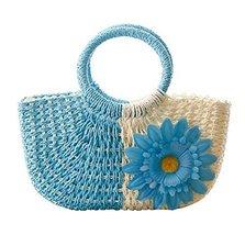 Fashion Vacation Item/Bi-color Series Meganium Straw Hand Bag/ Beach Bag/Blue