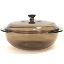 Vintage Pyrex 024 Corning Bowl Amber Brown Casserole Dish Ovenware 2 L w/Lid  - $26.18