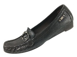 SH12 Stuart Weitzman Sz 8 Black Reptile Snake Print Buckle Low Wedge Shoes Spain - $19.79