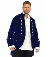 Leg Avenue Long Velvet Coat Navy Historical Adult Mens Halloween Costume... - $60.00