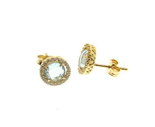 18K YELLOW GOLD EARRINGS CUSHION ROUND BLUE TOPAZ AND CUBIC ZIRCONIA FRAME