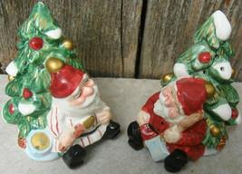 Fitz and Floyd Wood Carved Santa Ceramic Salt Pepper Shakers 1995 - $12.99