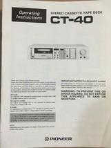 Pioneer CT-4 Cassette Owners Manual *Original* - $11.30