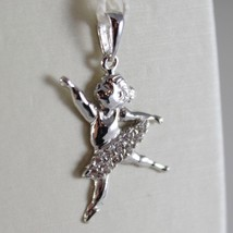 18K WHITE GOLD DANCER BALLET BALLERINA PENDANT CHARM WITH ZIRCONIA MADE IN ITALY image 1