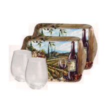 Glasses Trays Wine Picnic Party Set Tuscan Villas Merrit Cheese Appetize... - $28.00