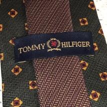 """Vintage Tommy Hilfiger Necktie Mens Tie 57 Inch 57"""" Usa 100% Silk Green Gold Us - $9.85"""