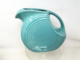 Homer Laughlin  Fiesta Ware Turquoise Disk Pitcher Jug Excellent Fiestaware - $41.79
