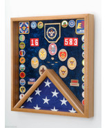 BOY AND CUB SCOUTS FLAG AND AWARDS  OAK OR WALNUT WOOD DISPLAY CASE SHAD... - $388.07