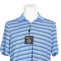 RLX Ralph Lauren Blue Yellow Short Sleeve Stretch Golf Polo Shirt Mens M... - $39.47