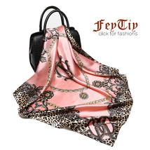 Fashion Women Scarf Luxury Brand Pink Leopard Hijab Silky Satin Shawl Scarfs Fou image 1