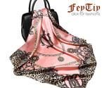 Xury brand pink leopard hijab silky satin shawl scarfs foulard square head scarves thumb155 crop