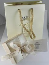 18K GOLD FIGARO CHAIN 2.5 MM WIDTH 25 IN LENGTH ALTERNATE NECKLACE MADE IN ITALY image 3