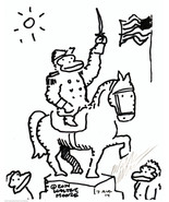 Statue of Civil War Ape General. Original Signed Cartoon Art by Walter M... - $9.44