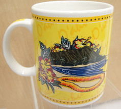 Hilo Hatties Oahu Hawaii Yellow Mug Hibiscus Flower Lei Diamond Head 2002 - $16.82