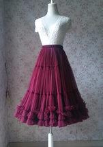 Burgundy Ballerina Tulle Skirt A-Line Layered Puffy Ballet Tulle Tutu Skirt image 5