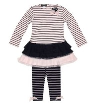 Kate Mack Baby Girls 2pc Dress+Legging Outfit Pink Size 24 Months Navy S... - $32.71