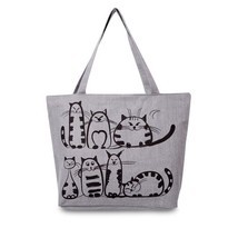 Bag Beach Zipper Cartoon Cat Tote Shoulder Handbag Large Shopping Women ... - $13.77