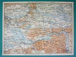 "1905 MAP Baedeker - DANUBE RIVER Vienna Bratislava Gyor 6 x 8"" (15 x 20 cm) - $6.08"