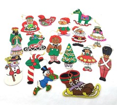 Vintage Flat Wooden Wood Christmas Ornaments Hand Painted By Number Lot ... - $29.61