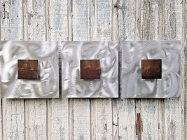 Metal Wall art Sculpture  3 piece Abstract contemporary by Artist Holly ... - $119.00
