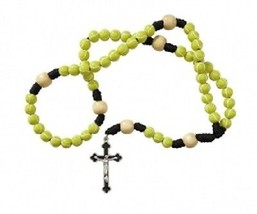 Tennis Ball Beaded Rosary with a FREE St. Sebastian Prayer Card. - $8.95