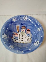 Tabletops Unlimited Snowman Snow Family Cereal Bowl Salad Winter Snowflakes - $12.86