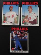 1986 Topps Traded Philadelphia Phillies Team Set of 3 Baseball Cards Missing 112 - $1.75
