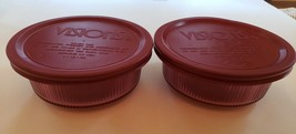 (2) CORNING VISIONS C-16-B CRANBERRY 1 PINT RIBBED SET OF 2 w/ Lids CASS... - $19.79